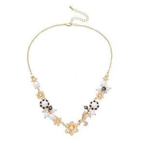 Flower Bird Pearl Crystal Gold Statement Necklace